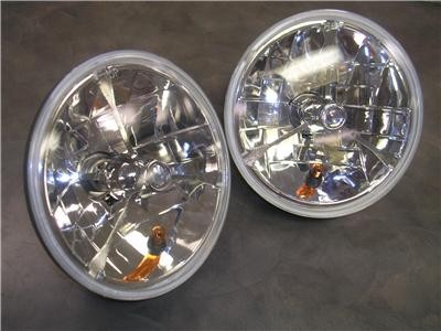 Clear Dot Glass Tri-Bar Headlights w Turn Signal